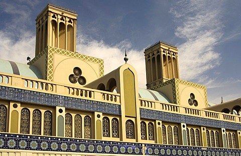 Building with wind towers, central market Souq al-Markazi, the Blue Souk, Sharjah, the Emirate of Sharjah, United Arab Emirates, Middle East