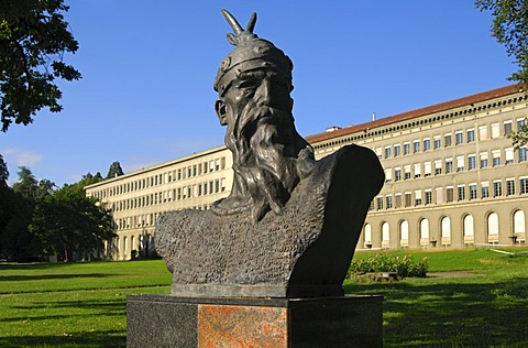 Monument of the Albanian national hero Gjergj Kastrioti, known as Skanderbeg, by Odhise Paskali, William Rappard Park, Center William Rappard in the back, Geneva, Switzerland, Europe