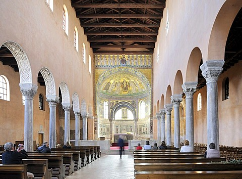 Nave of the Euphrasian Basilica in Porec, Croatia, Europe