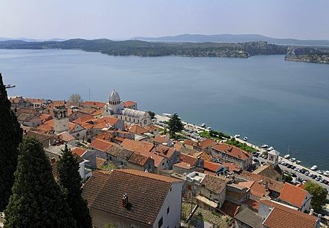 Overlooking the historic town centre of Sibenik, Croatia, Europe