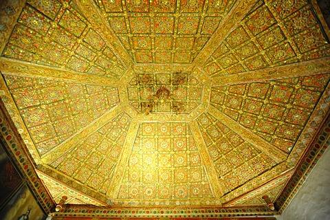 Gilded ceiling structure, sacristy of the parish church Iglesia Santa Maria, Betancuria, Fuerteventura, Canary Islands, Spain, Europe