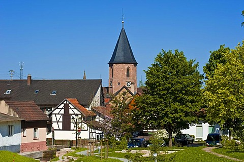 Townscape with the Holy Cross Church, Loffenau, Black Forest, Baden-Wuerttemberg, Germany, Europe