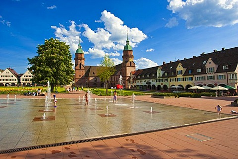 Playful fountains on Lower Market Square in front of the Parish Church, Freudenstadt, Black Forest, Baden-Wuerttemberg, Germany, Europe