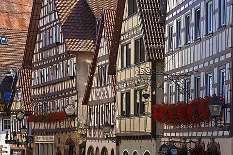 Main street with half-timbered facades, Dornstetten, Black Forest, Baden-Wuerttemberg, Germany, Europe
