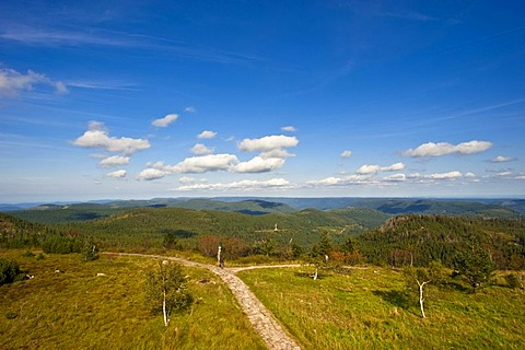 Hornisgrinde mountain, panorama from Bismarck Tower, Black Forest, Baden-Wuerttemberg, Germany, Europe