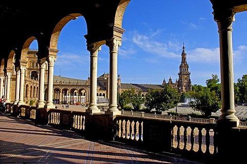 Plaza de Espana in Maria Luisa Park, Seville, Andalusia, Spain, Europe