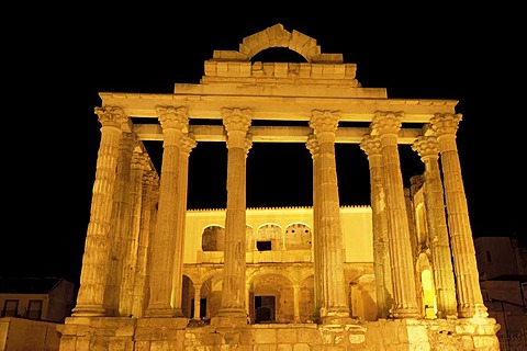 Ruins of Diana's temple at night, in the old Roman city Emerita Augusta, Merida, Badajoz province, Ruta de la Plata, Spain, Europe