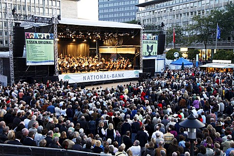 Essener Philharmoniker philharmonic orchestra in the central Kennedyplatz square at the Essen-Original, multi-day open-air concert event throughout the city of Essen, North Rhine-Westphalia, Germany, Europe