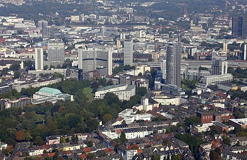 City of Essen, Philharmonie opera house, bottom left, Aalto Theater, RWE Tower administrative building, right, Essen, North Rhine-Westphalia, Germany, Europe