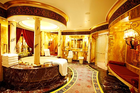 Presidential suite, deluxe suite, bathroom, of the Burj Al Arab luxury hotel, Dubai, United Arab Emirates, Middle East