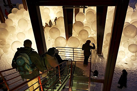 Art installation by the Raumlaborberlin, Soap Opera, many hundreds illuminated balloons at a mine shaft, GlueckAuf2010 cultural festival at the start of the European Capital of Culture year, on the site of the Zeche Zollverein mine and coking plant, Essen - 832-186801