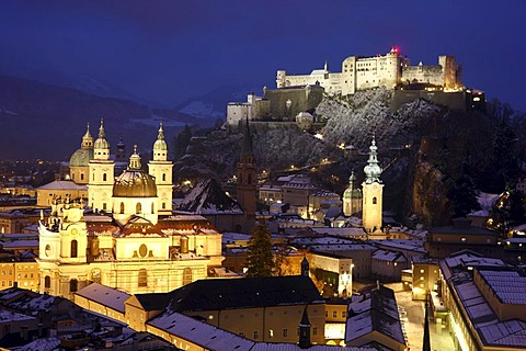 Old town with the Kollegienkirche church, the cathedral and Festung Hohensalzburg fortress, at night, winter, Salzburg, Austria, Europe