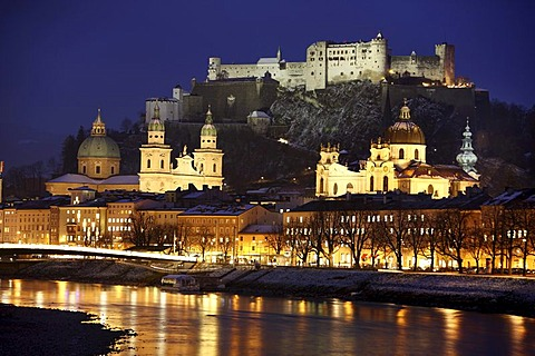 Old town with Kollegienkirche church, the Salzburger Dom cathedral and Festung Hohensalzburg fortress, Salzach river, in the evening, winter, Salzburg, Austria, Europe