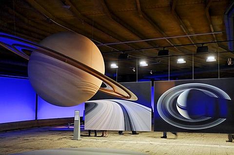 "Replicas of planets, exhibition ""Wunder des Sonnensystems"" wonders of the solar system, Gasometer Oberhausen, Ruhrgebiet region, North Rhine-Westphalia, Germany, Europe"