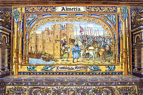 Patterned tiles at the palace in the Plaza de Espana in Seville, Andalusia, Spain, Europe