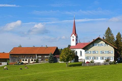 Small hamlet in Oberstaufen, Allgaeu, Bavaria, Germany, Europe