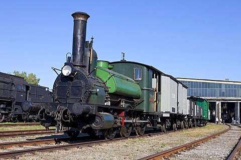 Licaon steam locomotive, the oldest operational locomotive in the world, built in 1851 in Austria, maximum speed 40 km/h, Railway Museum Strasshof, Austria, Europe
