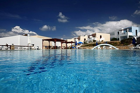 Swimming pool, hotel complex, island of Karpathos, Aegean Islands, Aegean Sea, Greece, Europe