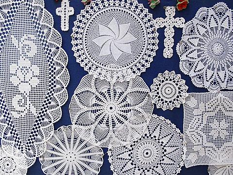 Crocheted lace, Pag island, Dalmatia, Adriatic Sea, Croatia, Europe