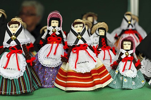 Typical dolls, market in Haria, Lanzarote, Canary Islands, Spain, Europe