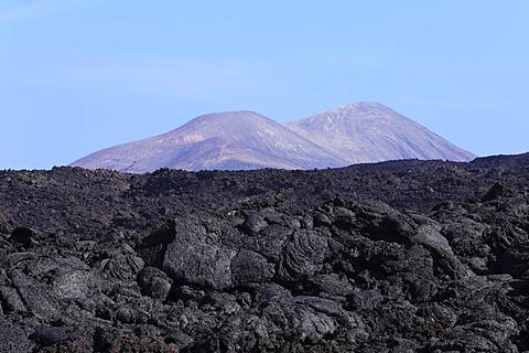 Sea of lava in Timanfaya National Park, Lanzarote, Caldera Blanca at back, Canary Islands, Spain, Europe