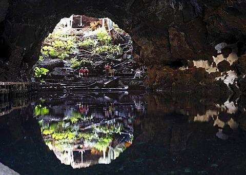 Jameo Grande Cave, Jameos del Agua, designed by Cesar Manrique, Lanzarote, Canary Islands, Spain, Europe