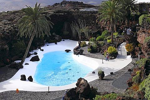 Pool, Jameos del Agua, designed by Cesar Manrique, Lanzarote, Canary Islands, Spain, Europe