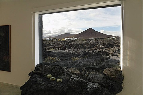 Lava flow through a window, Fundacion Cesar Manrique, Manrique's former residence in Teguise, Lanzarote, Canary Islands, Spain, Europe