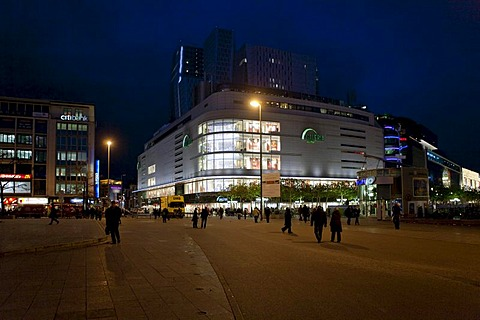 View of the Kaufhof department store at Christmas time, to the right, the Zeil shopping street, Frankfurt, Hesse, Germany, Europe