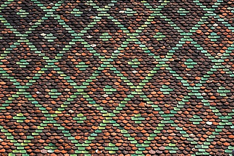 Decorative roof, detail, of the fruit market, Marche aux Fruits, Place du Marche aux Fruits, Colmar, Alsace, France, Europe