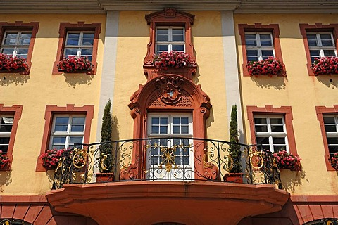 Decorative balcony of the Altes Buergerhaus building from 1775, marketplace, Endingen am Kaiserstuhl, Baden-Wuerttemberg, Germany, Europe