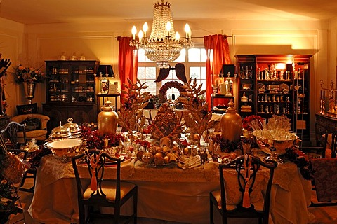 Lush Christmas decoration in a living room decorated for sale, Villa Ambiente, Im Weller, Nuremberg, Middle Franconia, Bavaria, Germany, Europe