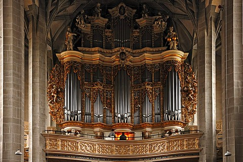 "Baroque organ, built by Christoph Cuntius in 1716, in the Marienkirche church or Marktkirche ""Unser Lieben Frauen"" Church of Our Lady, late Gothic, built 1529-1554, Marktplatz, Halle Saale, Saxony-Anhalt, Germany, Europe"