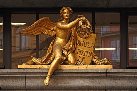 "Gold-plated angel figurine and writing of the pharmacy ""ZUM WEIssEN ENGEL"", THE WHITE ANGEL, Hauptplatz 29, Halle Saale, Saxony-Anhalt, Germany, Europe"