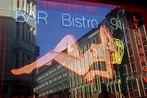 Neon advertising of a bar and bistro in the red light district, Frankfurt am Main, Hesse, Germany, Europe