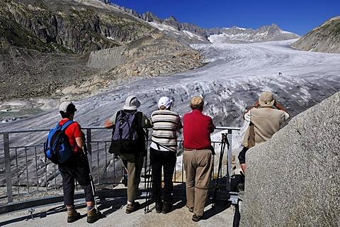 Hikers on the Rhone Glacier, Furka Pass, Uri, Switzerland, Europe