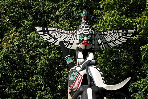 Totem pole in Stanley Park, Vancouver, British Columbia, Canada