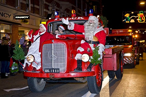 Santa Claus coming to Copenhagen, Denmark, Europe
