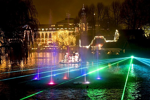 Illumination show at the Tivoli Lake in Copenhagen, Denmark, Europe