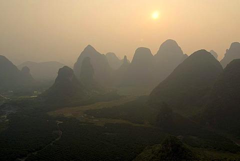 Rocky karst landscape near Yangshuo, aerial, Guilin, Guangxi, China, Asia
