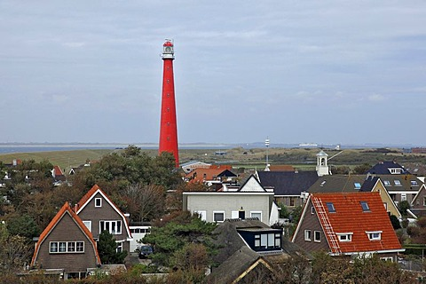 Residential houses, Lange Jaap Lighthouse, Kijkduin, Den Helder, province of North Holland, Netherlands, Europe