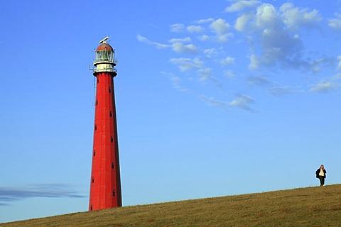 Lange Jaap Lighthouse, dike, promenader, Kijkduin, Den Helder, province of North Holland, Netherlands, Europe