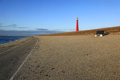 Bench, dike, Lange Jaap Lighthouse, Kijkduin, Den Helder, North Holland province, Netherlands, Netherlands, Europe