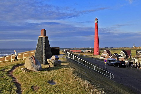Dyke, dike top, sculpture, Lange Jaap Lighthouse, Kijkduin, Den Helder, North Sea, the province of North Holland, Netherlands, Netherlands, Europe