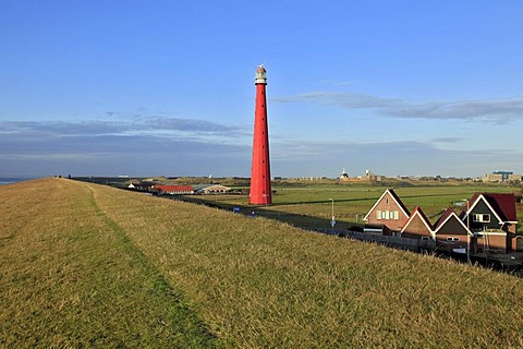 Dyke, dike top, Lange Jaap Lighthouse, Kijkduin, Den Helder, North Sea, North Holland province, Netherlands, Netherlands, Europe
