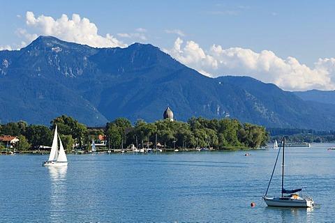 View from Gstadt to Fraueninsel island, Chiemsee lake, Chiemgau, Upper Bavaria, Bavaria, Germany, Europe