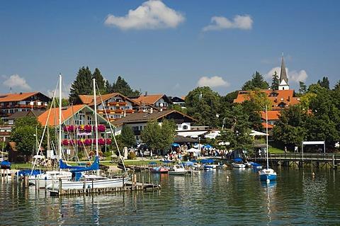 Sailboats in the port of Gstadt, Chiemsee lake, Chiemgau, Upper Bavaria, Bavaria, Germany, Europe