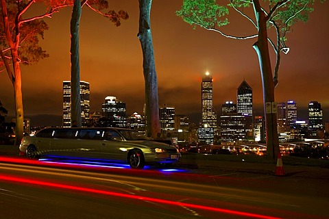 Stretch limousine under illuminated Lemon-scented eucalyptus gum trees in Kings Park at night with Perth skyline, Western Australia, Australia