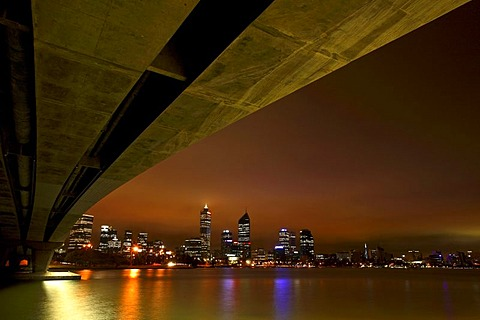 Skyline across the Swan River from under the Narrows Bridge, Perth, Western Australia, Australia