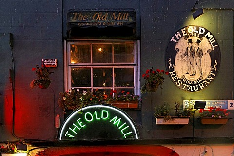 The Old Mill, Irish bar restaurant, signs, Dublin, Ireland, Europe